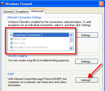 Enable icmp in XP