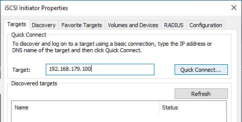 Windows Initiator Quick Connect