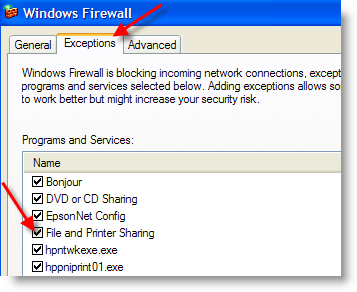 Disable Ping Enable File Sharing xp