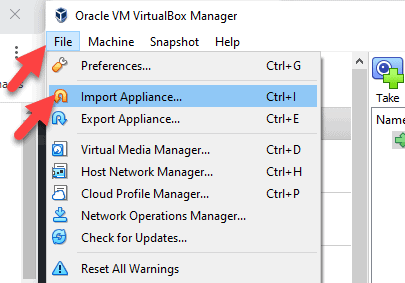 Import Appliance In VirtualBox