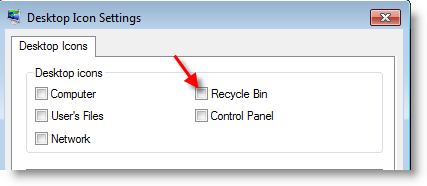 Missing Recycle Bin Windows 7
