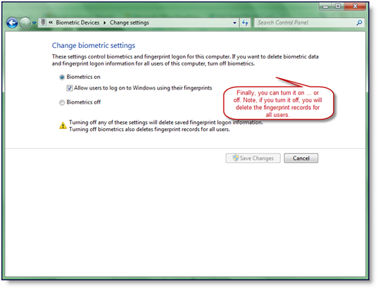 Remove Fingerprint Logon in Windows 7