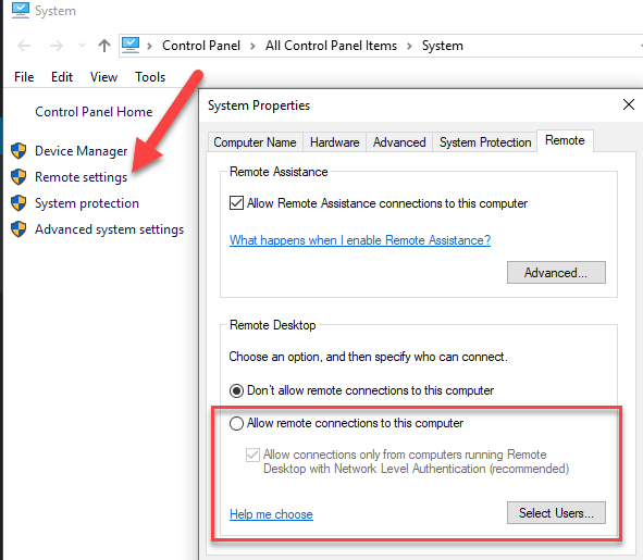 Windows 10 RDP Settings
