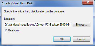 Opended VHD file