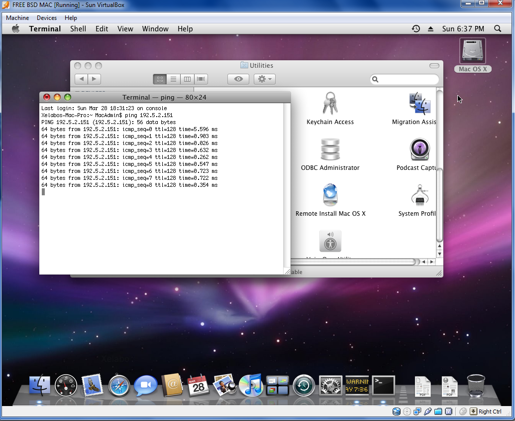 Mac OS X 10.5.5 Leopard VirtualBox 3.1.4