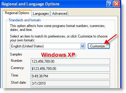 how to change the date format in win windows 7