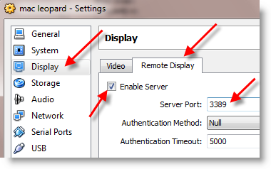 Remote Display Sun VirtualBox
