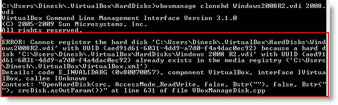 Error without removing the disk