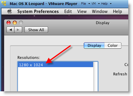 Increase Mac OS X Snow Leopard Virtual Machine Screen Resolution