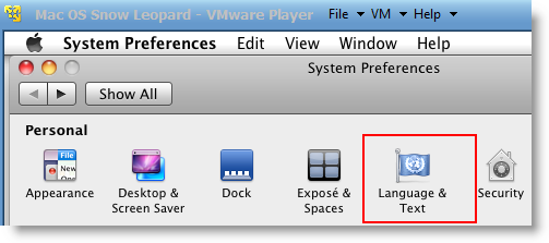 Language settings of Snow Leopard on VMware Player