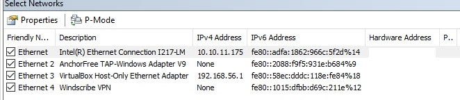 Detected Network Cards
