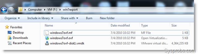 Exported OVF file