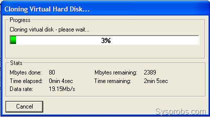 Progress of disk conversion