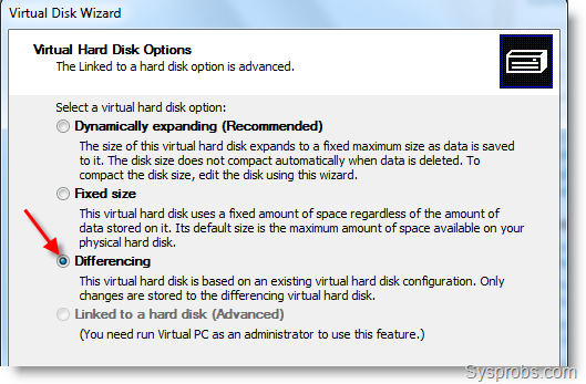 differencing disk virtual pc