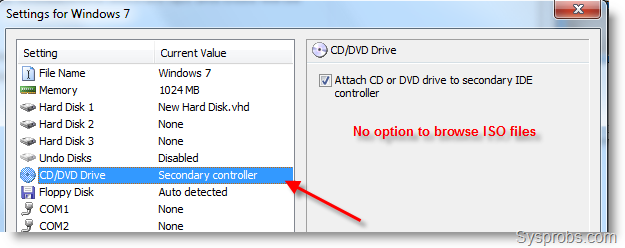 How to Mount ISO Files to CD DVD Drive in Virtual PC