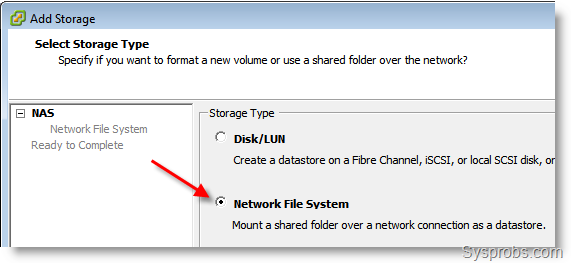 connect Windows 7 Share to VMware ESXi
