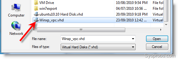 Attach the VHD file