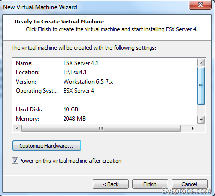 Install VMware ESXi 4.1 on VMware Workstation 7.1.1