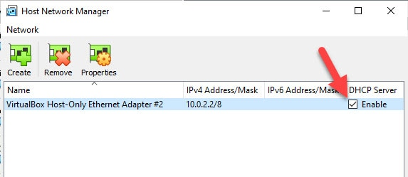 Enable Host Only Adapter
