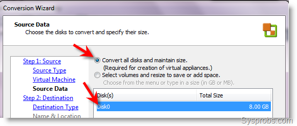 Select the disk of VM