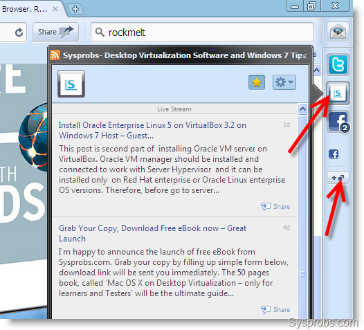RockMelt on Windows 7