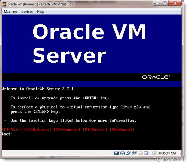 Install Oracle VM Server 2.2.1 on VirtualBox