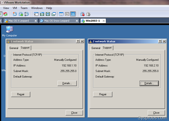 Configure two IPs - VMware Virtual Machine as LAN Router