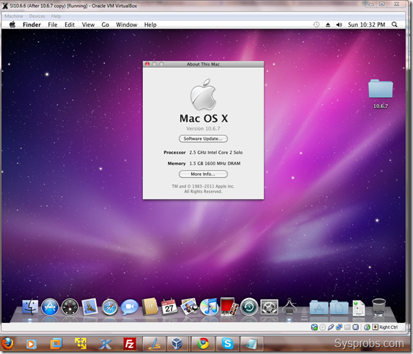 hackintosh 10.6.7 on VirtualBox