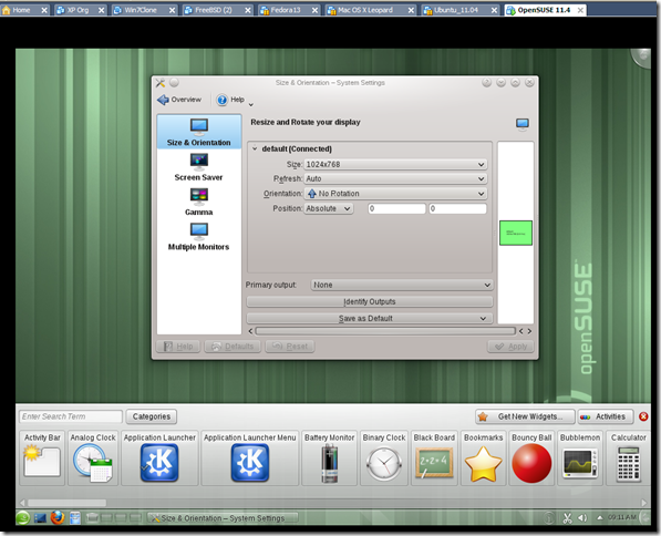 working open suse 11.4 on vmware