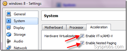 VirtualBox settings for Windows 8