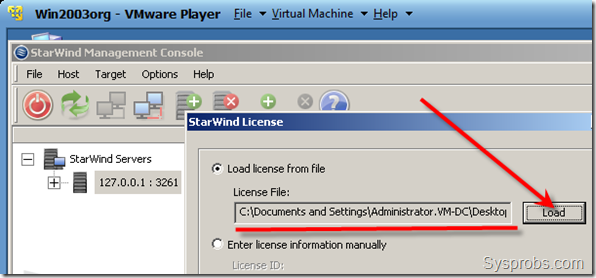 installing the free license on StarWind iSCSI SAN Software