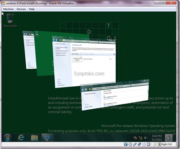 working Windows 8 aero in Virtualbox