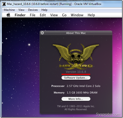 running hazard 10.6.8 in virtualbox