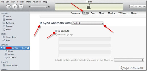 select outlook contacts to sync with iPhone 4