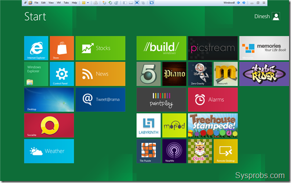 Full screen Windows 8 in VMware workstation