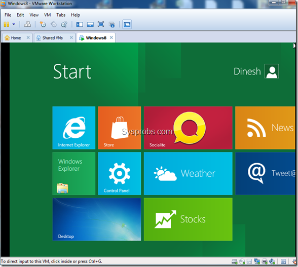 Windows 8 metro UI in VMware