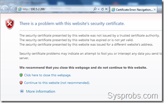 certificate error in ie9 for vsphere 5