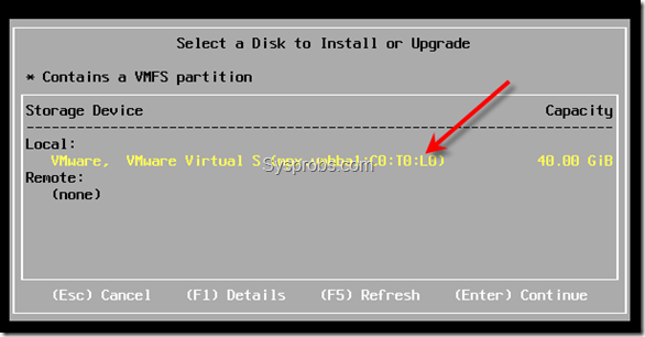 select disk to install