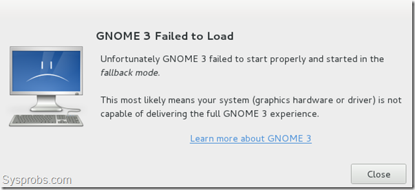 gnome 3 failed error