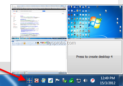 Working virtual desktops in Windows 7