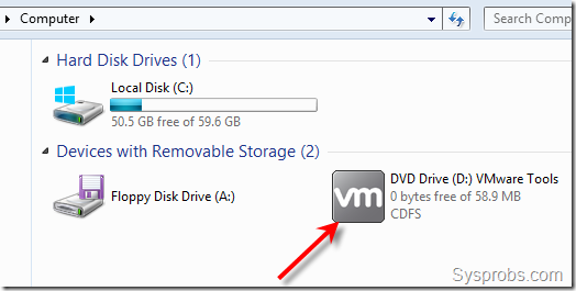 mounted vmware tools