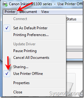 Windows 7 printer online