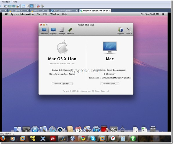 Working mac OS X 10.7 Lion on VMware