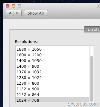 Screen resolutions in Lion OS on VMware