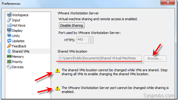 shared VMs location