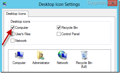 Show My Computer Icon on Windows 2012