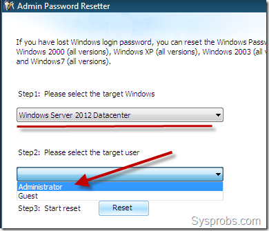 reset screen in windows 2012
