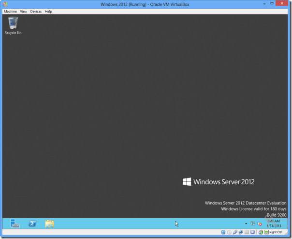 running windows 2012