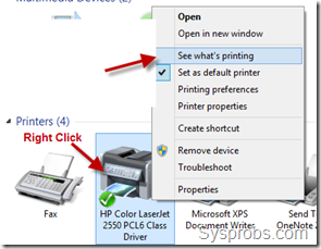see whats printing in windows 8