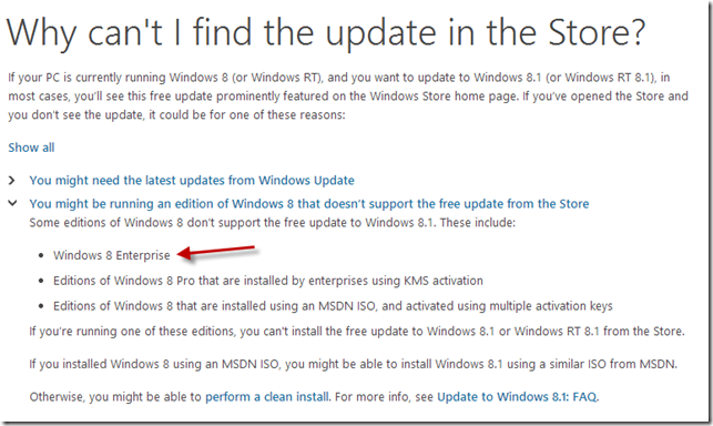 Why no windows 8.1 update